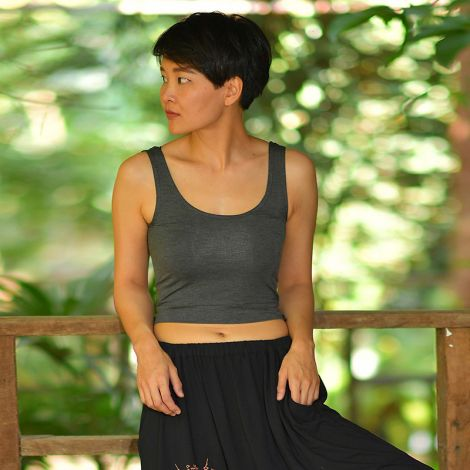 Bamboo yoga tank top Moksha anthracite