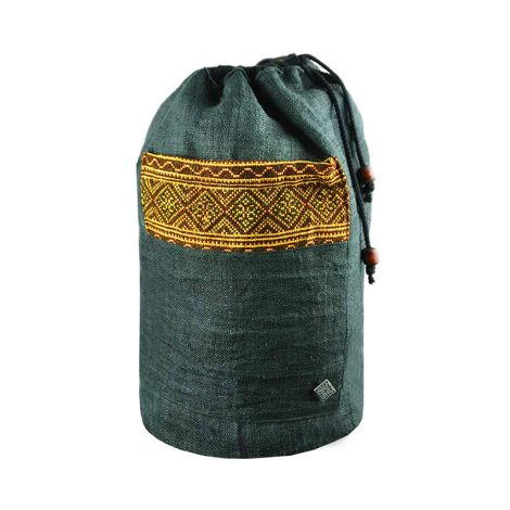 Drawstring Hemp Backpack Freiheit black