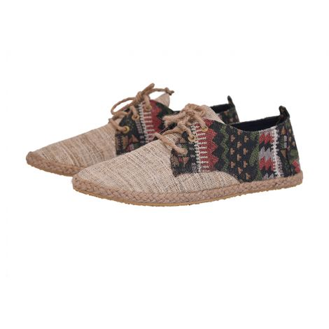 Hemp loafers Barfuß beige with pattern