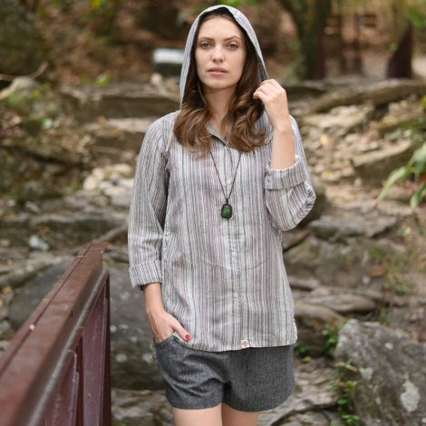 Hooded hippie shirt Sanftmut brown