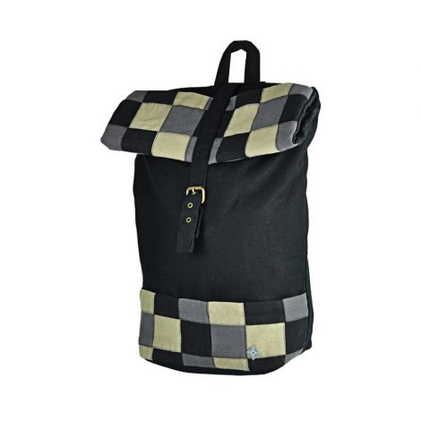 Rolltop backpack Großkariert black