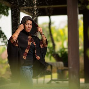 Hooded Cotton Poncho Kraft black